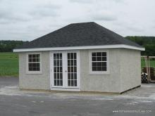 Classic Hip Roof Shed with Stucco, 12' x 16'