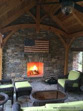 12x20 Timberframe Pavilion with Stone Wall & Fireplace Interior