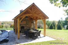 12' x 20' Timber Frame Pavilion with Stone Fireplace