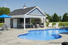 20' x 24' Custom Avalon Pool House with cupola & stone fireplace