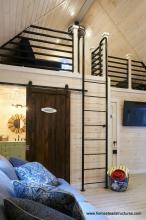 Bathroom with Sliding Barn Door in 16x24 Custom Liberty Pool House