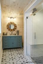 Finished bathroom in 16 x 24 Custom Liberty Pool House in NJ