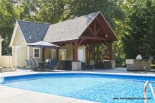 12x24 Custom Liberty Pool House with 14x20 Timber Frame Pavilion Attached in NJ