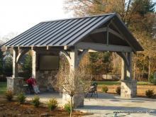 14' x 14' Custom Red Cedar Timber Frame Pavilion in Bryn Mawr, PA