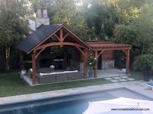 15' x 15' Timber Frame Pavilion with Attached Wood Pergola & Shed