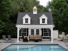 16' x 20' Liberty A-Frame Pool House with 12' x 18' VInyl Pergola