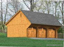16' x 32' Custom Wood 3-Car Garage with Carriage Style Garage Doors