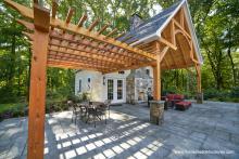 Custom Wood Pergola on 24x38 Liberty Pool House in CT