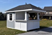 8' x 12' Siesta Pool Bar with recessed paneling and electrical package with porch lights