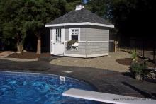 8' x 8' Classic Hip Roof Pool Shed (shakes & scallops)
