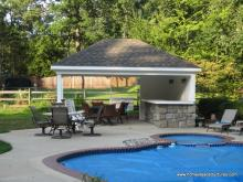 14' x 18' Avalon Pool House (vinyl siding w/ stone piers)