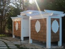 4' x 21' Azek & Cedar Outdoor Shower with Pergola Top