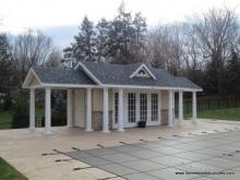 13' x 18' Classic A-Frame Pool House with Pavilions (Stucco Siding)