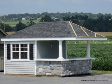 10' x 14' Siesta Poolside Bar with 3' extended Roof Overhang (vinyl siding)