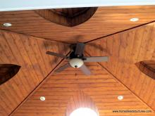18' x 18' Vintage Pavilion cedar ceiling rafters with ceiling fan