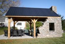 12x20 Timber Frame Pavilion with Stone Wall