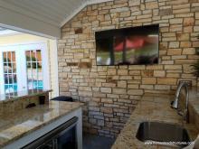 12x20 Custom Pool House with 12x29 Pavilion - bar area