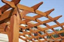Close up of 10x14 arched wood pergola