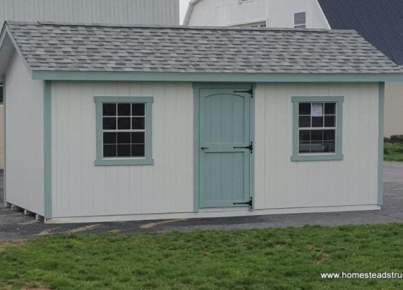 10' x 16' White & Green Classic A-Frame Shed