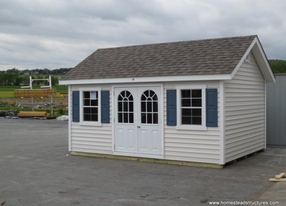 10' x 16' White & Blue Classic A Frame Shed