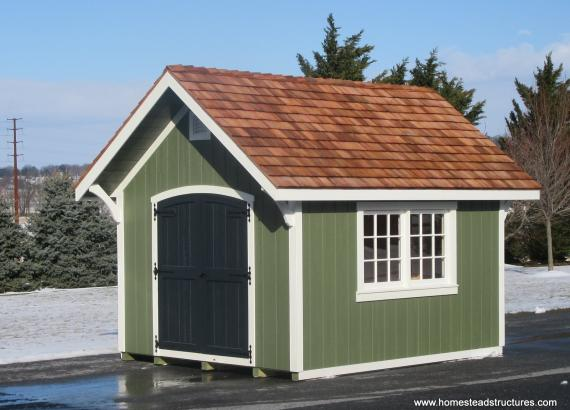 10' x 12' Premier Garden Shed with cedar shake roof