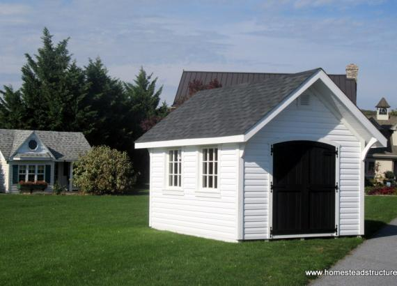 10 x 12 Premier Garden Shed with white siding