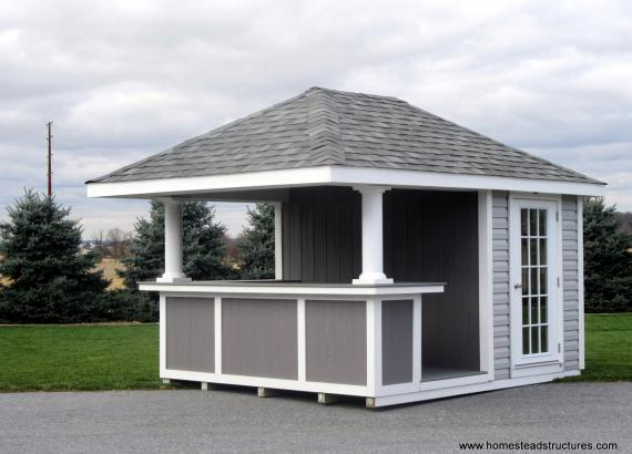 10' x 12' Siesta Hip Roof with trim panel bar front & 15-Lite door