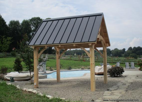 10' x 12' Timberframe Pavilion with standing seam metal roof in Avondale PA