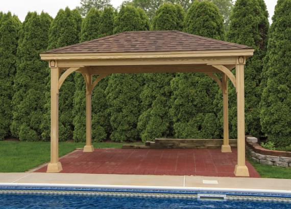 10' x 14' Keystone Wood Pavilion in natural (clear) stain