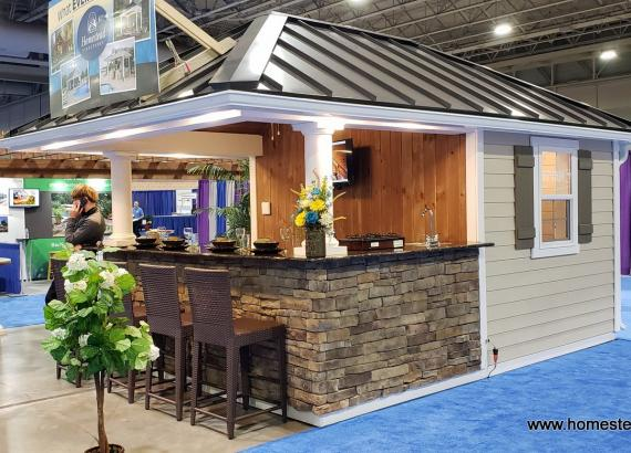 10' x 14' Siesta Pool House with 8x14 attached wood pergola & metal rood
