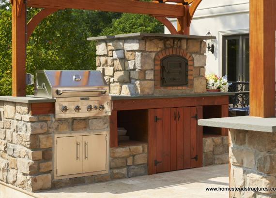10x14 Pergola with Grill & Pizza Oven in Outdoor Kitchen