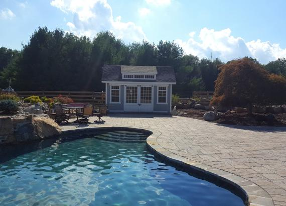 10x16 Classic Pool Shed with Sliding Barn Doors