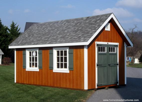 10' x 16' Classic A-Frame Shed with Double Transom Doors & Loft