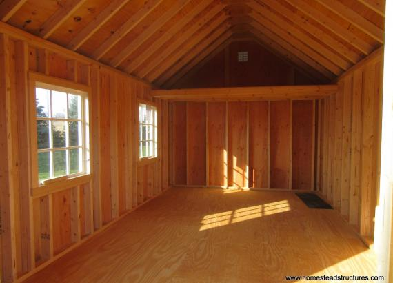 Interior of 10' x 16' Classic A-Frame Shed with Double Transom Doors