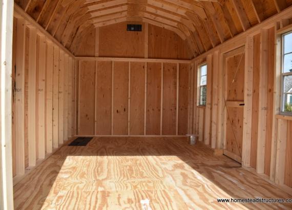 Interior of 10' x 16' Keystone Dutch Barn