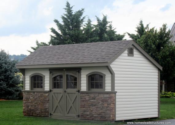 10' x 16' Laurel Carriage House with stone veneer