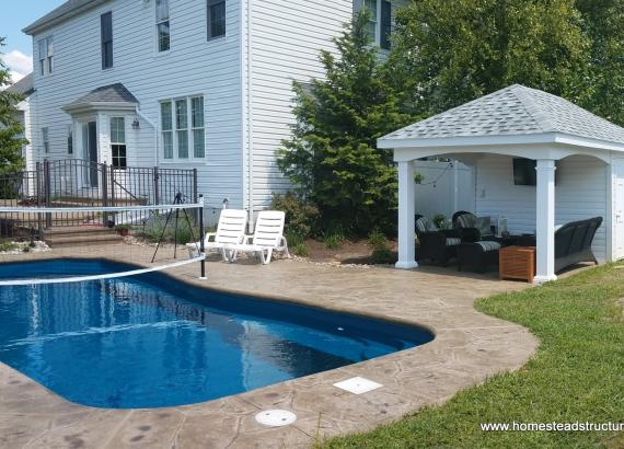 10' x 16' Avalon Pool House - White - With Changing Room & Storage Area