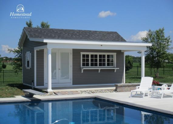 10x20 Custom Classic A-Frame Pool House with Porch