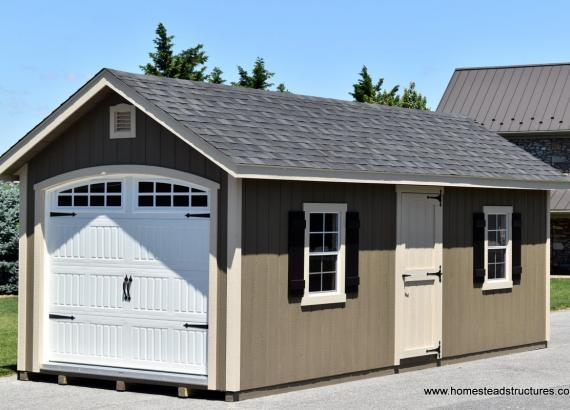 10' x 24' Classic 1-Car Garage with carriage style garage door