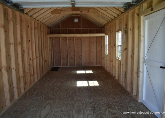 Interior of 10' x 24' Classic 1-Car Garage with carriage style garage door