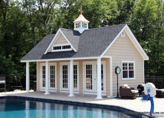 15' x 24' Heritage Liberty Pool House with vinyl shake siding