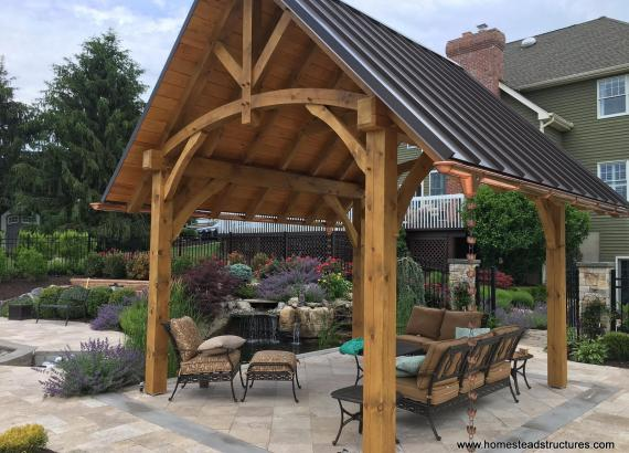 12' x 14' Timber Frame Pavilion with Standing Seam Metal Roof in NJ