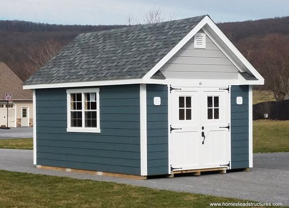 12' x 16' Century A-Frame Shed with Hardi Plank siding & 4-lite Craftsman door