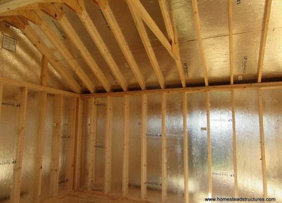 Interior of 12' x 16' Classic A-Frame Shed with Dutch Lap Siding & radiant barrier sheathing