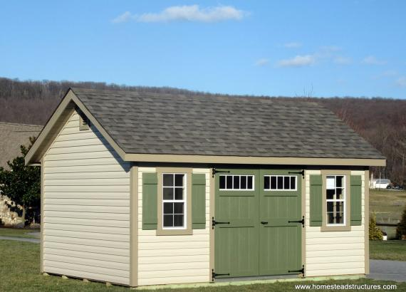 12' x 16' Classic A-Frame Shed with Dutch Lap Siding & radiant barrier sheathing