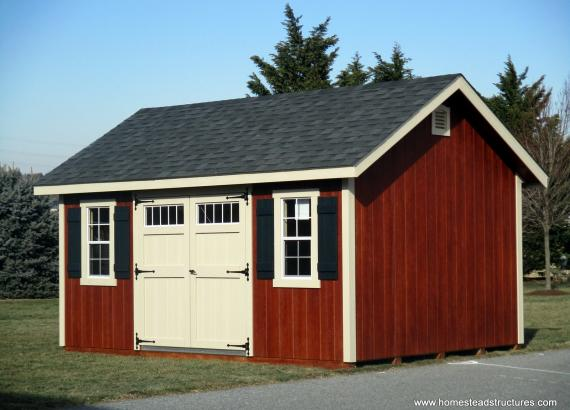 12' x 16' A-Frame Shed with Double Transom Door & Loft