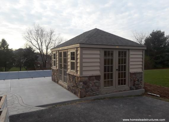 12' x 16' Laurel Hip Pool Shed with stone facade
