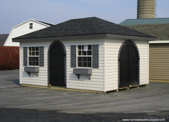 12' x 16' Classic Hip Shed (vinyl siding & arched doors)