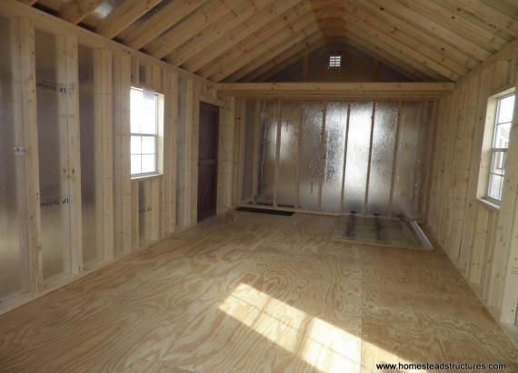 Interior of 12' x 20' Classic A-Frame Shed with vinyl siding & loft