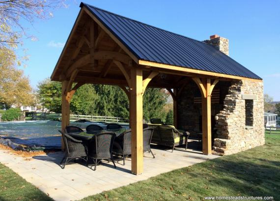 12' x 20' Timber Frame Pavilion with stone wall & metal roof